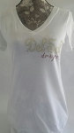 Del Sol Dragons Ladies Rhinestone Script V-Neck White